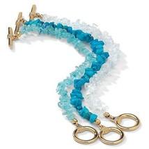 Genuine Turquoise, Topaz & Quartz 14k Gold-Plated Bracelet Set - $10.82