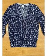Jcrew Navy Blue Anchor Print Cardigan Sweater Women's Cotton Size S - $24.95