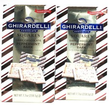 2 Bags Ghirardelli 7.7 Oz Limited Edition Dark Chocolate Peppermint Bark Squares - $30.99