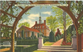 Gardens and the Royal Governor's Palace, Williamsburg, VA, unused linen ... - $5.99