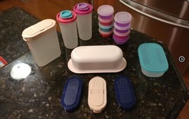 Tupperware Shakers Lids Butter Storage Tiny Containers Various Colors Pi... - $29.95