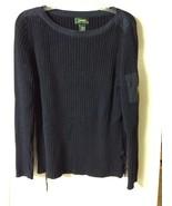Lauren Ralph Lauren Navy Boat Neck Ribbed Sweater Size Medium - $19.99