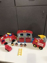 Lot Fisher Price Little People Rescue Fire House Station & Truck Lights Sounds - $39.55
