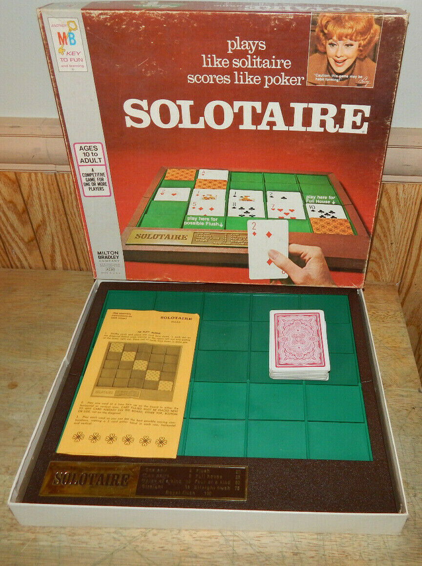 "Primary image for Vintage ""Solotaire"" Solitaire Game by Milton Bradley Lucille Ball 1973 complete"
