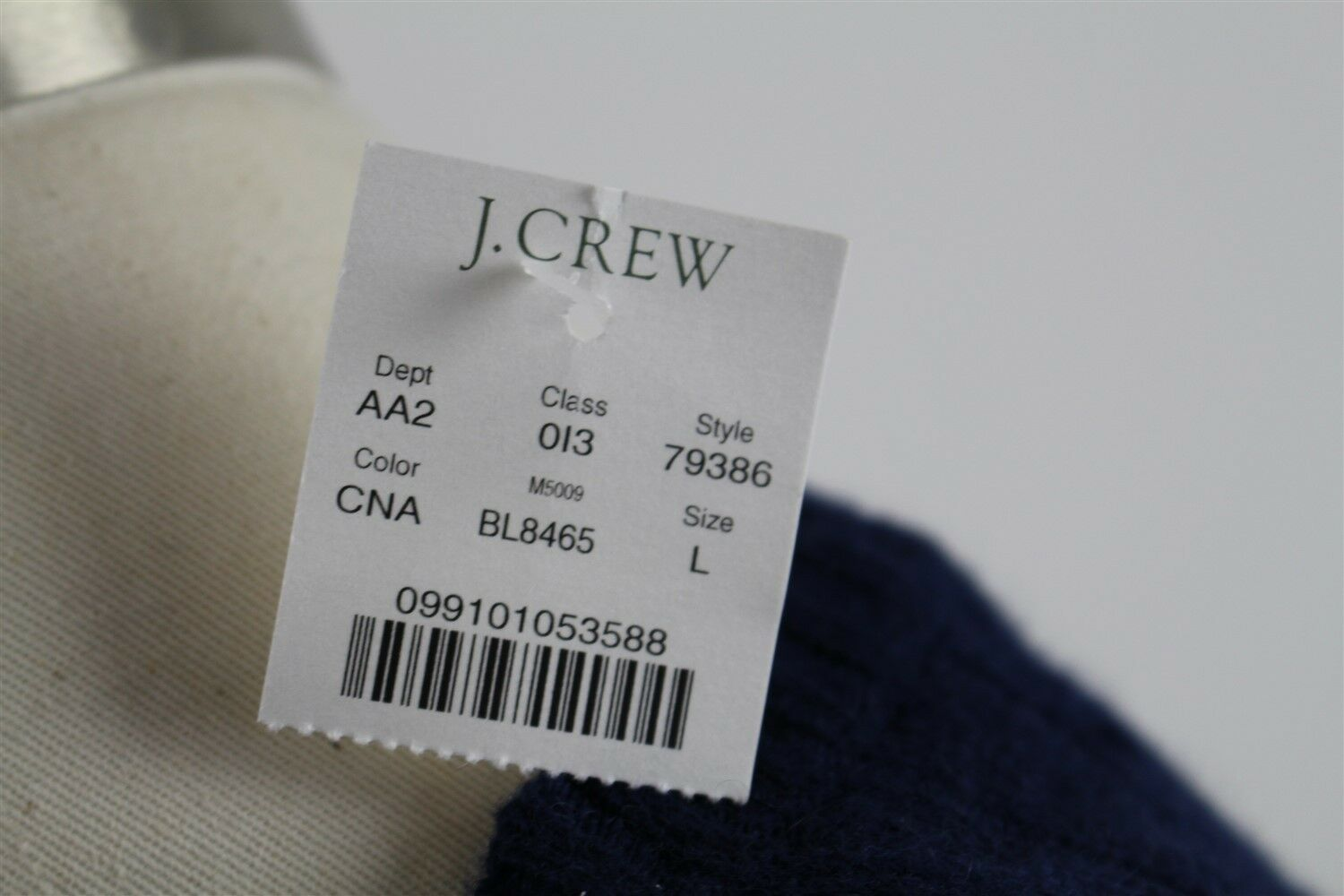 NWT J.Crew Spencer Cable-Knit Luxury Wool Blend  Sweater MENS LARGE Blue