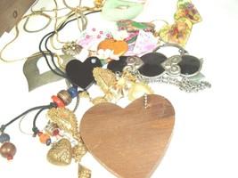 Vtg Costume Jewelry Accessory lot Brooch Pin Necklace Earring Heart Hear... - $12.86