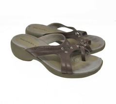 Merrell Women's Sz 7 Brown Leather Toe Strap Slip On Sports Sandals - $39.99