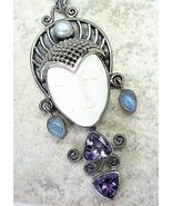 Hand Carved Bali Goddess + Blue Flash Moonstone... - $169.92