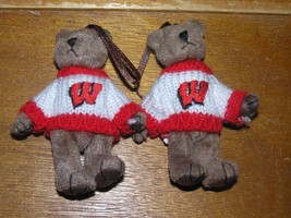 Estate Lot of 2 Plush Mini Brown Bears with University of Wisconsin Swea... - $8.59