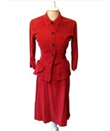40's Junior Clique Corduroy Dress Suit Holiday  Costume Vintage Red RL-33 - $123.75