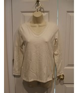 NWT  org.$49 Charter Club  Petite ivory long sleeve  top size petite pp - $16.33