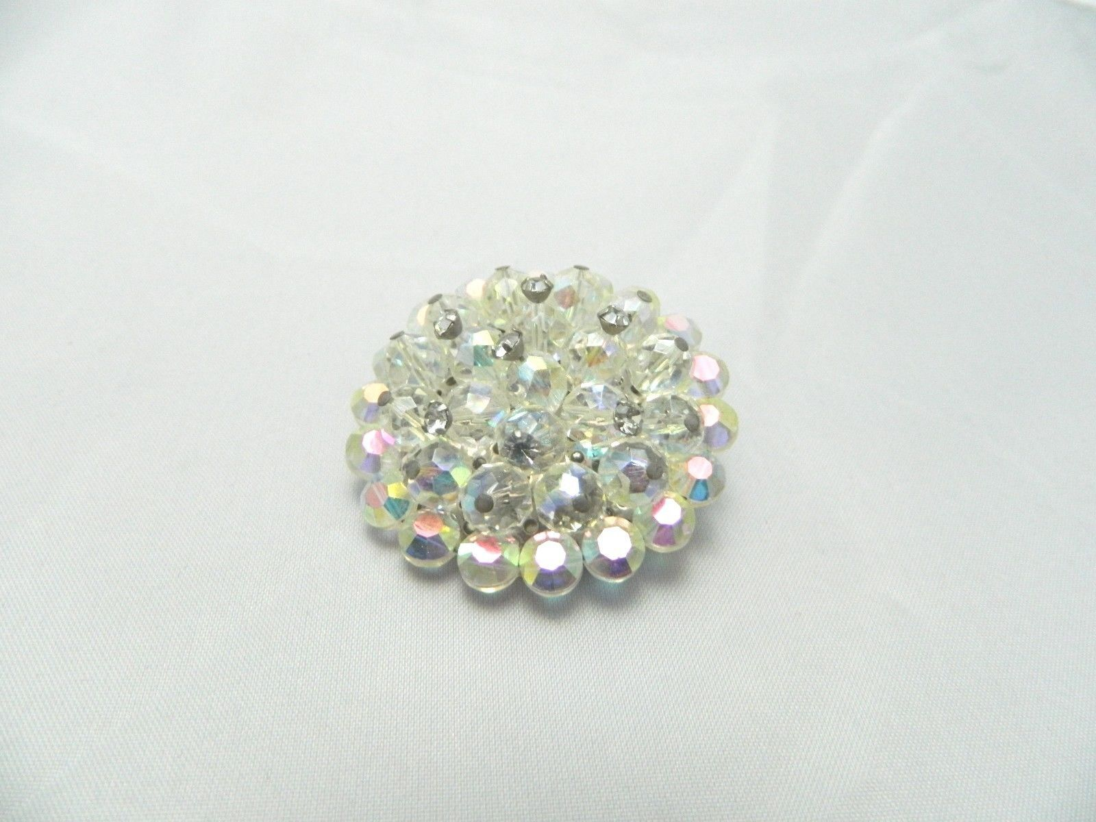 VTG RARE Clear AB Demi Parure Crystal Rhinestone Accented Glass Pin Brooch  image 5
