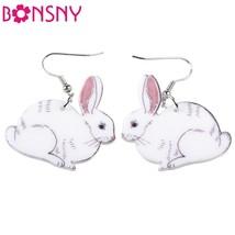 Drop Easter Hare Rabbit Bunny Earrings Acrylic Dangle Girls Woman Fashio... - $8.99