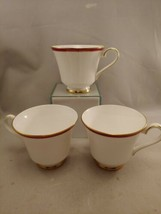 3 Footed Coffee Tea Cups Saucers MINTON England SATURN Pattern Crimson Gold  - $17.59