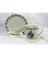 GEI Snowman Family Blue Snowflakes Cup And Saucer Set - $4.84