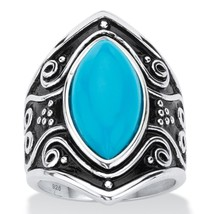 PalmBeach Jewelry Simulated Turquoise Antiqued .925 Silver Boho Scroll Ring - €19,12 EUR