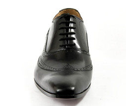 Shell Cordovan Men Hand Made Treasure Bearer Gaspare Wingtip Black Leather Shoes image 4