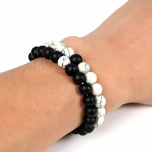 NAPOLN 2Pcs Bracelets Bangles Set Classic Beaded Bracelets Natural Stone... - $13.71