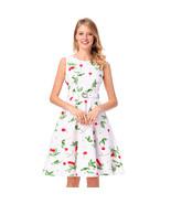 AOVEI White Cherry Print Vintage A Line Sleeveless Prom Pleated Swing Dress - $29.99