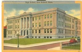 High School, New Bedford, Mass, 1942 used linen Postcard  - $9.99