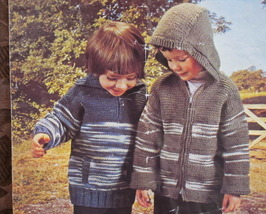 DOUBLE Knitting Patterns CHILDREN KNITTED Cardigan SWEATERS JACKET With ... - $5.95