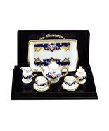 Tea Set 1.346/6 Baronesse Royal Blue for 2 Reutter Porcelain Dollhouse M... - $33.67