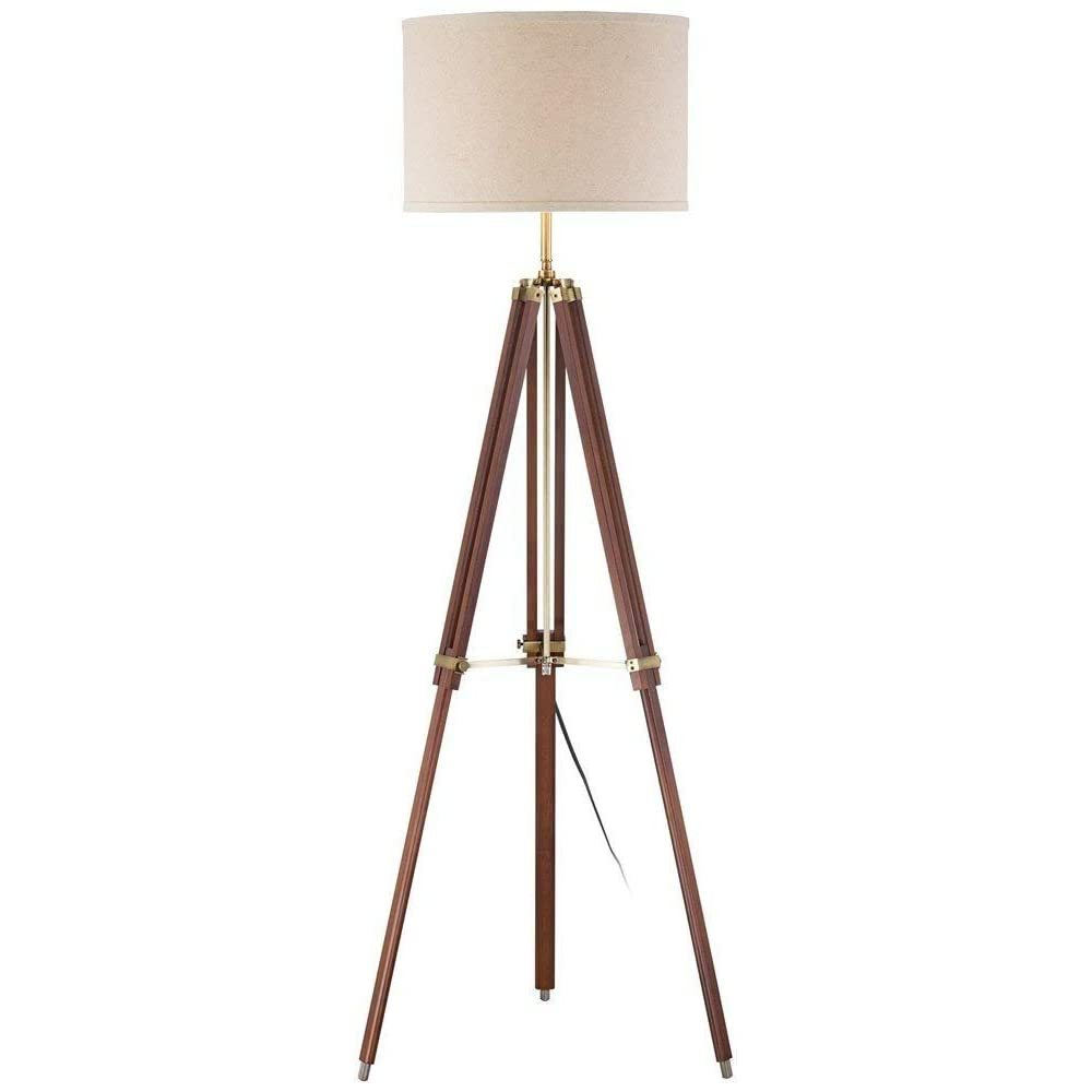 Primary image for tripod floor lamp for living room cherry finish wood
