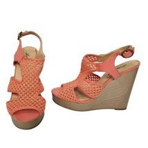 Lucky Brand Womens 8 Remyy Bright Coral Crochet Open Toe Platform Wedge ... - $28.04