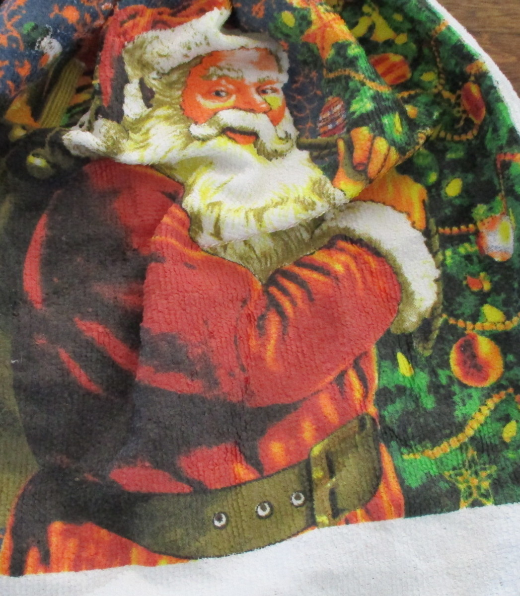 Kitchen Towel with Crocheted Top - Santa