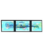 Art N Words Whale Submarine Diver Original Atlas Pages 3 Pc Wall Pop Art... - $79.99