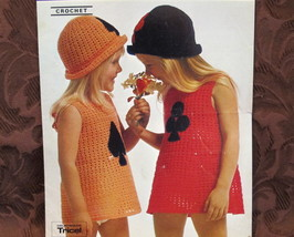 VINTAGE Crochet Pattern GIRLS Summer DRESS and PULL ON HAT Card Motifs - $6.95
