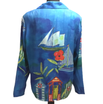 Peter Popovitch Womens S Tropical Tropics Theme Boats Jacket Blouse 80s ... - $69.29