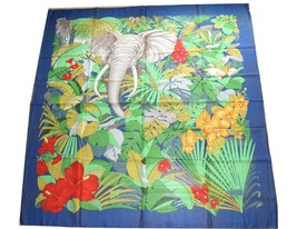 "Gucci Cotton Scarf Elephant 55"" x 55"" Blue 140 cm shawl stole - £134.72 GBP"