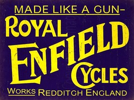 ROYAL ENFIELD Cycles vintage advertising metal wall sign plaque - $8.59
