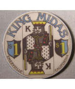 """$1.00 Casino Chip From: """"King Midas Card Room"""" - (sku#2061) - $3.25"""