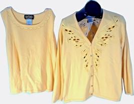 Bob Mackie Wearable Art Womens 2 piece Top Tank and Shirt Yellow Medium - $22.99