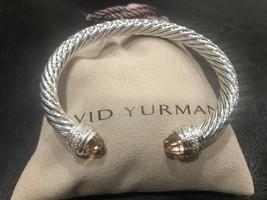 David Yurman Sterling Silver Diamond Morganite 7mm Cable Classic Bracele... - $599.99