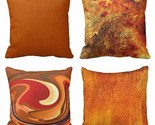 """Nice Pillow Covers Cases Set of 4 18""""x18"""" Orange Abstract Shabby Chic Farmhouse"""