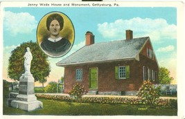 Jenny Wade House and Monument, Gettysburg, PA, 1920s unused Postcard  - $5.99