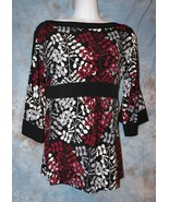 Womens Black Leafy Print Merona 3/4 Sleeve Shirt Size XS excellent - $7.91