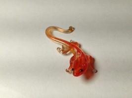 Miniature Glass Red Orange Salamander Handmade Blown Glass Made USA - $29.69