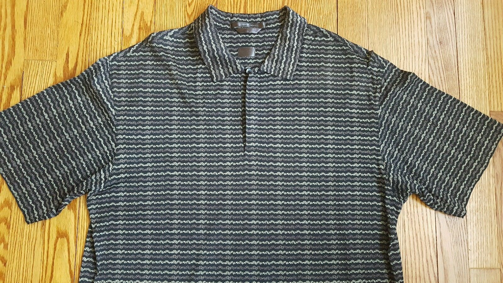 TIGER WOODS Men's Nike Golf Polo Rugby Shirt Size Large 100% Cotton Black