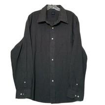 Arrow Men's Button Down Shirt ~ Sz XL 17-17.5 ~ Dark Gray ~ Plaid ~ Long... - $14.84