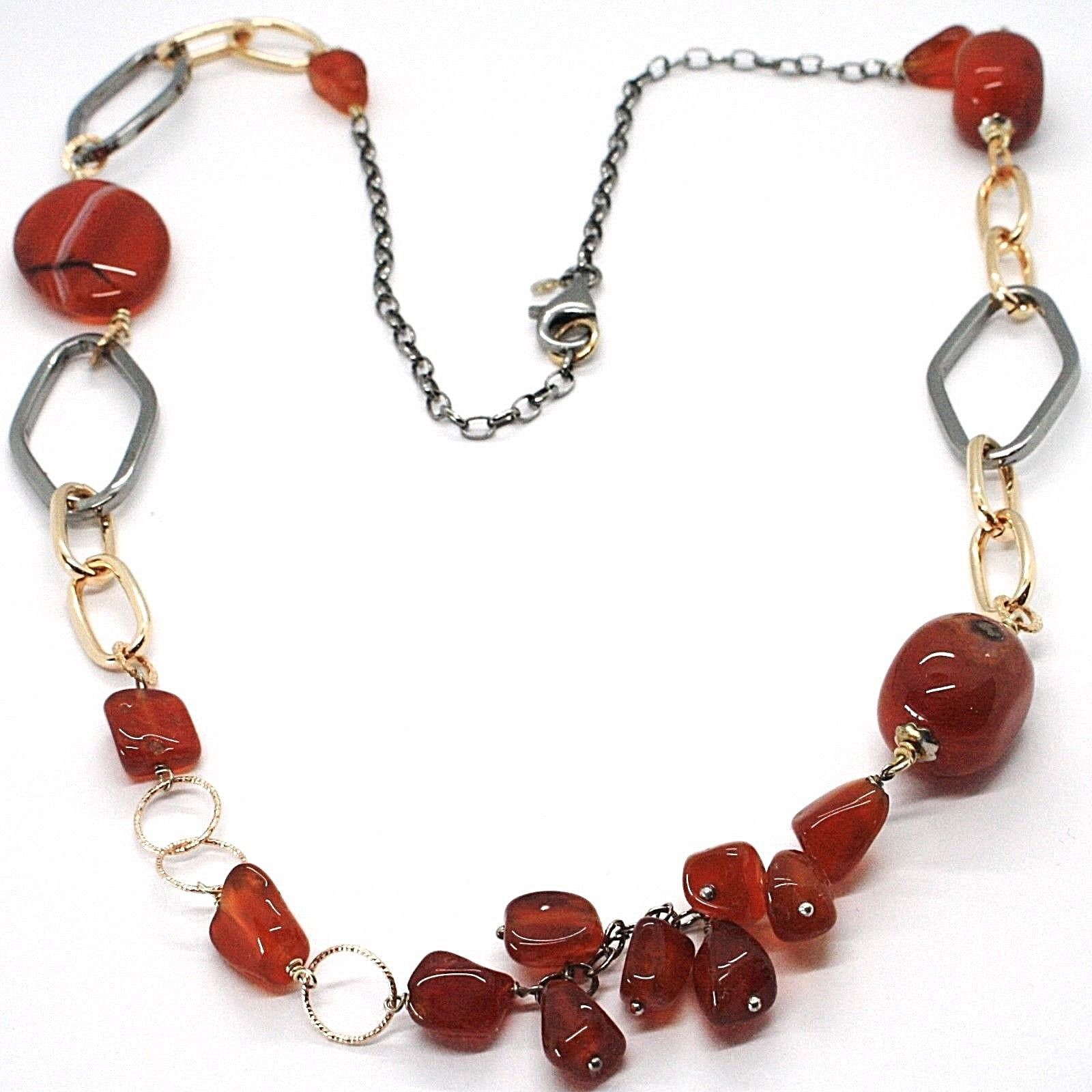 925 Silver Necklace, Burnished and Pink, Carnelian Red, Length 70 cm
