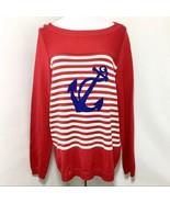 Talbots Blue Anchor Sea Life Striped Sweater Sz Large - $34.99