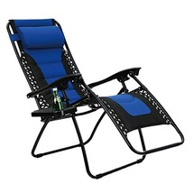 PHI VILLA Padded Zero Gravity Lounge Chair Patio Foldable Adjustable Rec... - £73.55 GBP