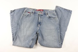 Vintage 90s Tommy Hilfiger Mens 34x32 Flag Logo Boot Cut Denim Jeans Pants Blue - $32.62