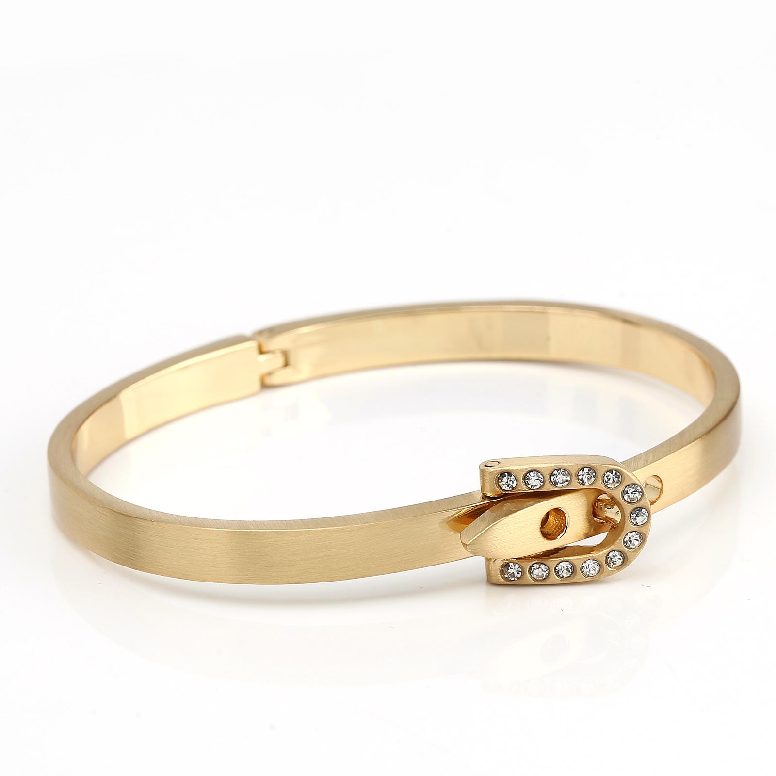 UE-Designer Gold Tone Bangle Bracelet, Buckle Clasp & Swarovski Style Crystals image 3