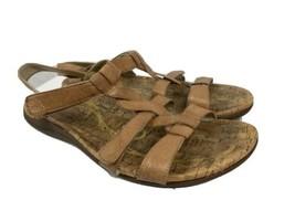 Abeo, Women's Bea-Braid Walking Sandals, Tan Leather T-Strap, Women's 10N - $42.74