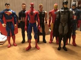 "Lot Of 7 Super Hero Action Figures 12""  Spider-Man Superman Batman Iron ... - $64.30"